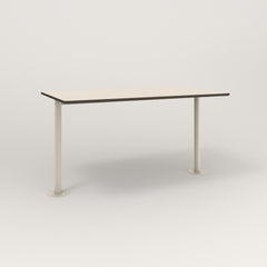 RAD Cafe Table, Rectangular Bolt Down Base T Leg in hpl and off-white powder coat.