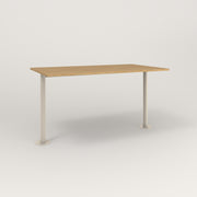 RAD Cafe Table, Rectangular Bolt Down Base T Leg in white oak europly and off-white powder coat.