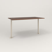 RAD Cafe Table, Rectangular Bolt Down Base T Leg in slatted wood and off-white powder coat.