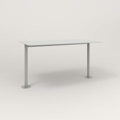 RAD Cafe Table, Rectangular Bolt Down Base T Leg in aluminum and grey powder coat.