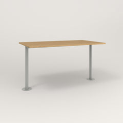 RAD Cafe Table, Rectangular Bolt Down Base T Leg in white oak europly and grey powder coat.