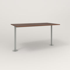 RAD Cafe Table, Rectangular Bolt Down Base T Leg in slatted wood and grey powder coat.