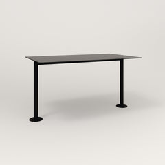 RAD Cafe Table, Rectangular Bolt Down Base T Leg in aluminum and black powder coat.