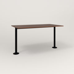 RAD Cafe Table, Rectangular Bolt Down Base T Leg in slatted wood and black powder coat.