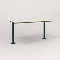 RAD Cafe Table, Rectangular Bolt Down Base T Leg in hpl and navy powder coat.