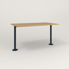 RAD Cafe Table, Rectangular Bolt Down Base T Leg in white oak europly and navy powder coat.