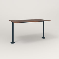 RAD Cafe Table, Rectangular Bolt Down Base T Leg in slatted wood and navy powder coat.