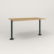 RAD Cafe Table, Rectangular Bolt Down Base T Leg in white oak europly and fir green powder coat.