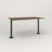RAD Cafe Table, Rectangular Bolt Down Base T Leg in slatted wood and fir green powder coat.