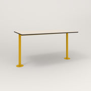 RAD Cafe Table, Rectangular Bolt Down Base T Leg in hpl and yellow powder coat.