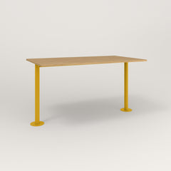 RAD Cafe Table, Rectangular Bolt Down Base T Leg in white oak europly and yellow powder coat.