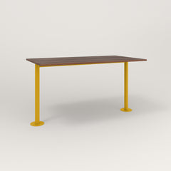 RAD Cafe Table, Rectangular Bolt Down Base T Leg in slatted wood and yellow powder coat.