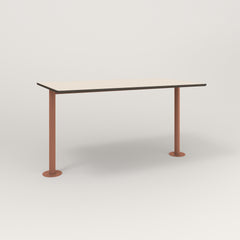 RAD Cafe Table, Rectangular Bolt Down Base T Leg in hpl and coral powder coat.