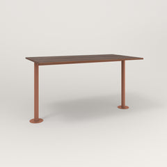 RAD Cafe Table, Rectangular Bolt Down Base T Leg in slatted wood and coral powder coat.