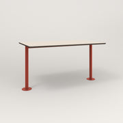 RAD Cafe Table, Rectangular Bolt Down Base T Leg in hpl and red powder coat.