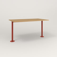 RAD Cafe Table, Rectangular Bolt Down Base T Leg in white oak europly and red powder coat.