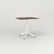 RAD Cafe Table, Rectangular 2 Top Flat Four Point Base in slatted wood and white powder coat.