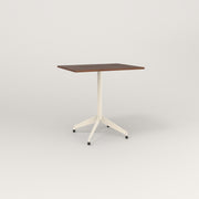 RAD Cafe Table, Rectangular 2 Top Flat Four Point Base in slatted wood and off-white powder coat.