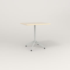 RAD Cafe Table, Rectangular 2 Top Flat Four Point Base in solid ash and grey powder coat.
