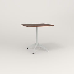 RAD Cafe Table, Rectangular 2 Top Flat Four Point Base in slatted wood and grey powder coat.