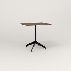 RAD Cafe Table, Rectangular 2 Top Flat Four Point Base in slatted wood and black powder coat.
