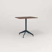 RAD Cafe Table, Rectangular 2 Top Flat Four Point Base in slatted wood and navy powder coat.
