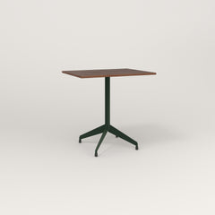 RAD Cafe Table, Rectangular 2 Top Flat Four Point Base in slatted wood and fir green powder coat.