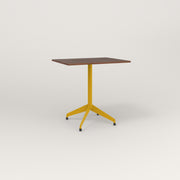 RAD Cafe Table, Rectangular 2 Top Flat Four Point Base in slatted wood and yellow powder coat.
