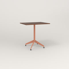 RAD Cafe Table, Rectangular 2 Top Flat Four Point Base in slatted wood and coral powder coat.