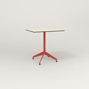 RAD Cafe Table, Rectangular 2 Top Flat Four Point Base in hpl and red powder coat.