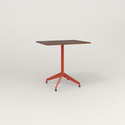 RAD Cafe Table, Rectangular 2 Top Flat Four Point Base in slatted wood and red powder coat.