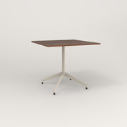 RAD Cafe Table, Rectangular 4 Top Flat Four Point Base in slatted wood and off-white powder coat.