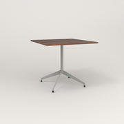 RAD Cafe Table, Rectangular 4 Top Flat Four Point Base in slatted wood and grey powder coat.