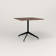 RAD Cafe Table, Rectangular 4 Top Flat Four Point Base in slatted wood and black powder coat.