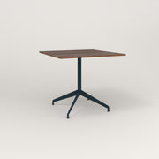 RAD Cafe Table, Rectangular 4 Top Flat Four Point Base in slatted wood and navy powder coat.