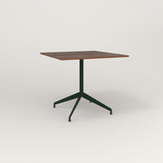 RAD Cafe Table, Rectangular 4 Top Flat Four Point Base in slatted wood and fir green powder coat.