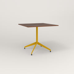 RAD Cafe Table, Rectangular 4 Top Flat Four Point Base in slatted wood and yellow powder coat.