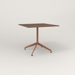 RAD Cafe Table, Rectangular 4 Top Flat Four Point Base in slatted wood and coral powder coat.