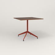 RAD Cafe Table, Rectangular 4 Top Flat Four Point Base in slatted wood and red powder coat.