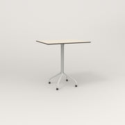 RAD Cafe Table, Rectangular 2 Top Tube Four Point Base in hpl and white powder coat.