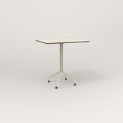 RAD Cafe Table, Rectangular 2 Top Tube Four Point Base in hpl and off-white powder coat.