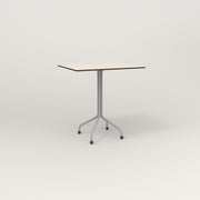 RAD Cafe Table, Rectangular 2 Top Tube Four Point Base in hpl and grey powder coat.