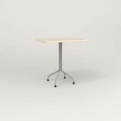 RAD Cafe Table, Rectangular 2 Top Tube Four Point Base in solid ash and grey powder coat.