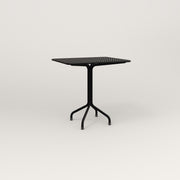 RAD Cafe Table, Rectangular 2 Top Tube Four Point Base in perforated steel and black powder coat.