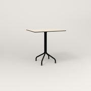 RAD Cafe Table, Rectangular 2 Top Tube Four Point Base in hpl and black powder coat.