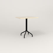 RAD Cafe Table, Rectangular 2 Top Tube Four Point Base in solid ash and black powder coat.