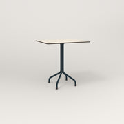 RAD Cafe Table, Rectangular 2 Top Tube Four Point Base in hpl and navy powder coat.