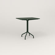 RAD Cafe Table, Rectangular 2 Top Tube Four Point Base in perforated steel and fir green powder coat.