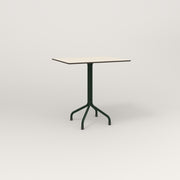 RAD Cafe Table, Rectangular 2 Top Tube Four Point Base in hpl and fir green powder coat.