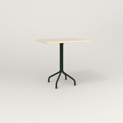 RAD Cafe Table, Rectangular 2 Top Tube Four Point Base in solid ash and fir green powder coat.